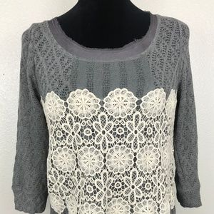 Meadow Rue Anthropologie Grey Layered W/Cream Lace